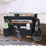 SIMBOOM Bolsillo Cama Organizador, Fieltro Bolsa de Cama Almacenamiento con 7 Bolsillos para sofá, Teléfono, Libro, Remoto, Magzine, iPad, Gafas - Gris Oscuro
