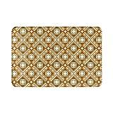 Alfombra de baño para el hogar, geométrica, amarillo, marrón, abstracto, nórdico, otoño, bohemio, alfombra de ducha de 15.7 x 23.6 pulgadas