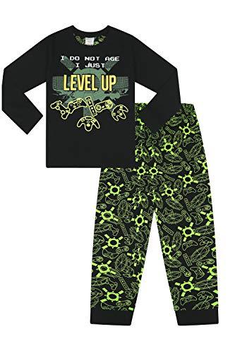 Pijama Largo para niños con Texto en inglés I Do Not Age I Just Levant Negro Negro (15-16 años