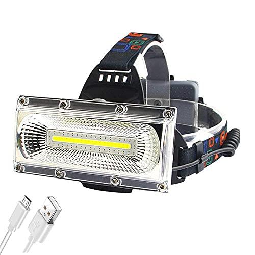 Los faros LED impermeables al aire libre más brillantes, 2000lm de alta potencia Cob USB recargable faro, 3 modos de iluminación y rojo/azul estroboscópico, iluminación gran angular con SKYJIE