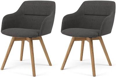 Tenzo 3244-215 SOFIA Designer Lot de 2 chaises, Anthracite, Structure en contreplaqué garni de mousse et recouvert de tissu 100% Polyester. Pieds en chêne massif huilé, 77 x 53 x 57 cm (HxLxP)