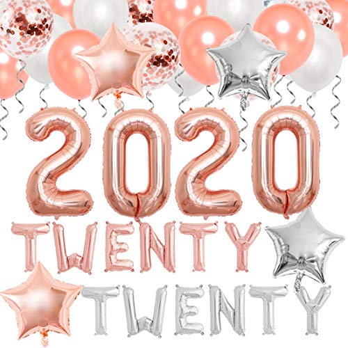 Decoraciones de fiesta de graduación 2020 Globos de oro rosa 2020 para decoración de fiesta de feliz año nuevo