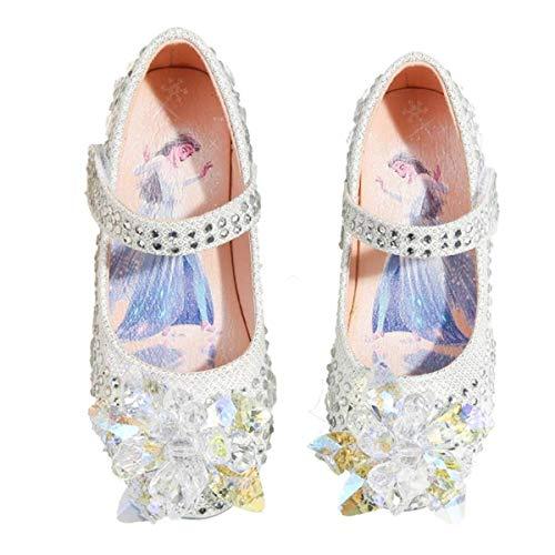 Kosplay Fille Doux Sandales Reine des Neiges Elsa Anna Talons Plats Paillettes Chaussures de Princesse Argenté Halloween Noël Anniversaire Déguisement Ballerines