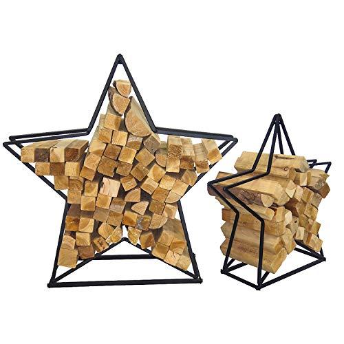 XXL 2'er Set Brennholzablage Kaminholzablage Standregal Kaminholzregal Stern aus Stahl schwarz 63,5 x 20 x 61,5 cm und 87 x 26 x 84 cm