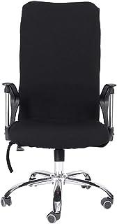 Atyhao Funda para Asiento de Silla, L/M/S Silla giratoria elástica extraíble Fundas cómodas Fundas para sillas de computadora de Oficina Fundas de Asiento Lavables Antipolvo Asiento(Negro L)