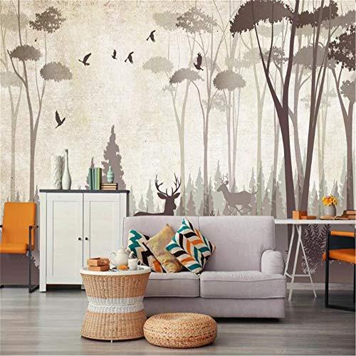 JIYOTTF Tela no tejida autoadhesiva del mural de la pared de la sala 3DNiebla bosque animales alces.(W 450 x H 300cm) Papel pintado de la foto del arte Decoración de la pared Cartel Arte Mural de par