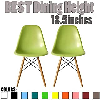2xhome Set of 2 Green Mid Century Modern Contemporary Vintage Molded Shell Designer Side Plastic Eiffel Chairs Wood Legs for Dining Room Living Conference DSW Desk Kitchen Comfortable