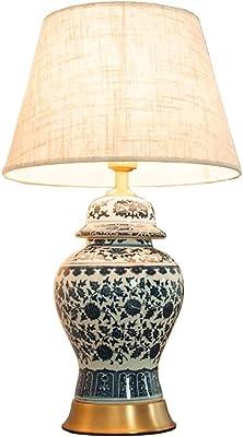 YGQTD Mi-Feuille Moderne Lampe de Table Set de céramique Bleu-Cyan Glaze, en fournissant à la Main-Blanc -360 éclairage for la Salle de séjour Chambre (Color : 38 * 64)