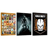 Video Game Poster Set ~ Bundle Includes 3 Mounted Prints (8'x11'x.2') Featuring Call of Duty, Elder Scrolls, and Fallout (Video Game Wall Art Room Decor Office Decorations)