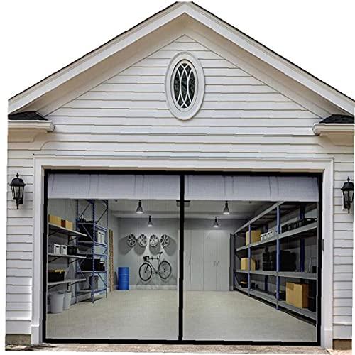 Pantalla de puertas de garaje pantalla extraíble de insectos 200cm red de fibra de vidrio retráctil manos libres DIY neto 400cm Negro insectos