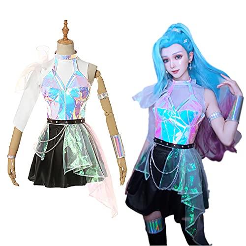 Xin Hai Yuan LOL Seraphine Cosplay Disfraz kda Serafina Disfraz kda Cosplay Vestido Falda Traje Conjunto Completo,M