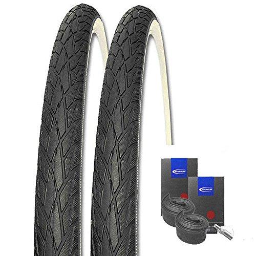 Set: 2 x Schwalbe Road Cruiser schwarz-Weiss 37-622 / 28x1.40 + Schwalbe Schläuche Dunlopventil