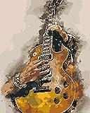 Pintar por Numeros Adultos Guitarra Cuadros para Pintar por Numeros Pint por Número de Kits for Adultos Mayores Avanzada Niños Joven - (40x50cm, Sin Marco)