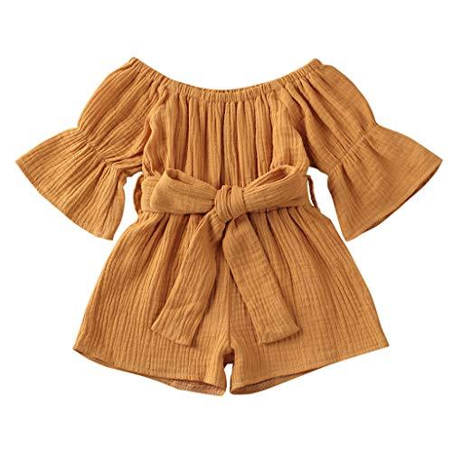 LEXUPE Kleinkind Baby Kinder Mädchen Jungen Off-Shoulder Rüschen Bogen Strampler Jumpsuit Outfits(Gelb,90)
