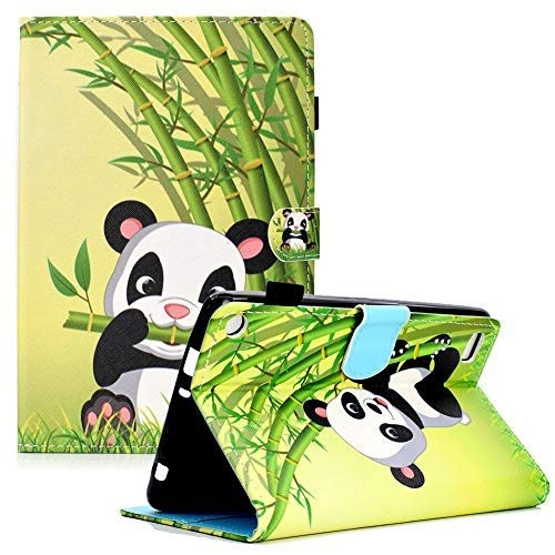 Shinyzone Kompatibel mit Amazon Fire 7 2019/2017/2015 Tablet Hülle mit Stifthalter,PU Leder Tasche Gehäuse Ständer Schutzhülle [Auto Schlaf/Wachen][Verstellbar Handyhalterung],Panda