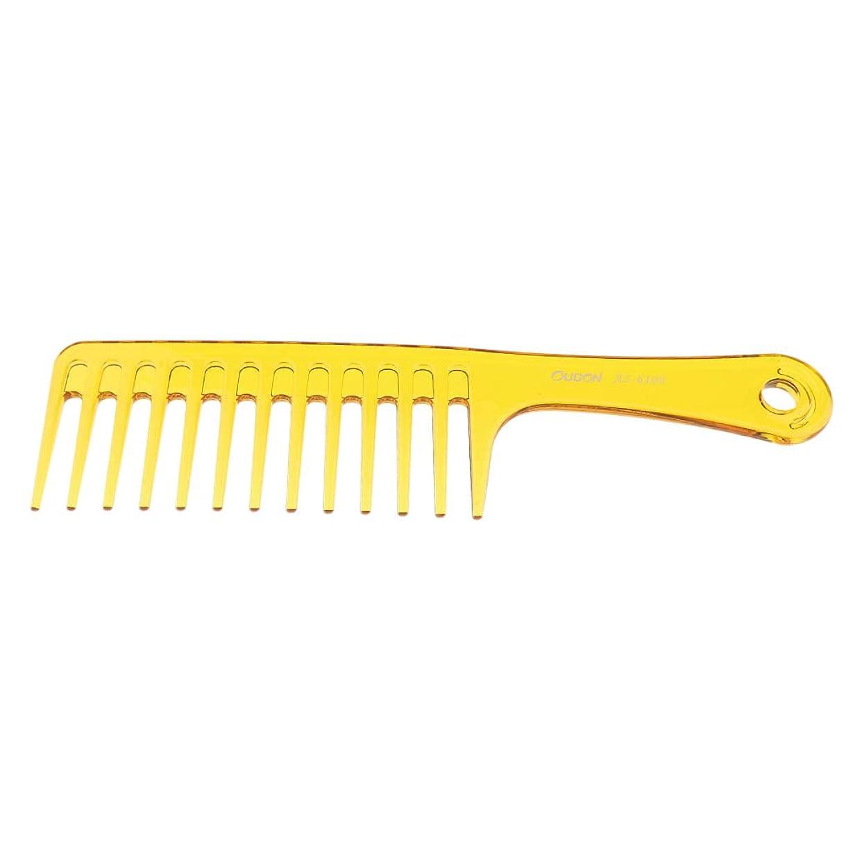 不毛有益なファンシーF Fityle ヘアブラシ 巻き毛太い髪 広い歯櫛 サロン ヘアスタイリング 2色選べ - 黄
