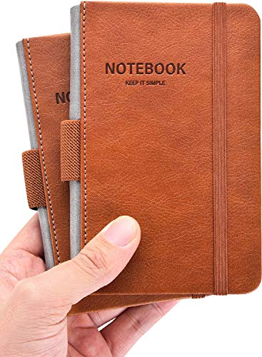 """2 Pack Pocket Notebook Small Notebook 3.5""""x 5.5"""", Hardcover Notebook Thick Lined Paper with Inner Pockets, Pen Holder, Marker Ribbons, Cover Letter Embossing Design Mini Journal Notepad Brown Leather"""