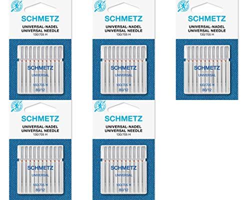 Agujas para Máquina de Coser Schmetz - Universal (Regular / Ordinario), Tamaño: 80/12 - Paquetes de 10: 5 Paquetes por el Precio de 4 - Bulk Descuento Deals para Gran Ahorro - hasta 30 Agujas GRATIS