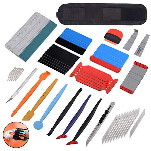 Winjun Autofolie Fensterfolie Folierungs Werkzeug mit Folienrakel Micro Rakel 9mm Cuttermesser Magnet Armbänder Mini Schaber