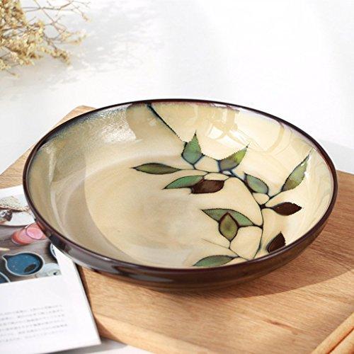 Restaurant fruitsalade raam soep plaat Japanse stijl bladeren bamboe handgeschilderd creatieve plaat keramiek retro tafeldecoratie rond bord soepbord accessoires