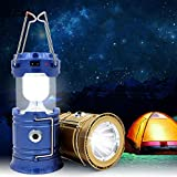 VELON 1W 6 + 1 LED Rechargeable Solar Emergency Light Lantern Camping Lamp USB Rechargeable Camping Light Outdoor Tent Light Lantern Solar Power Collapsible Lamp Flashlight Emergency Torch