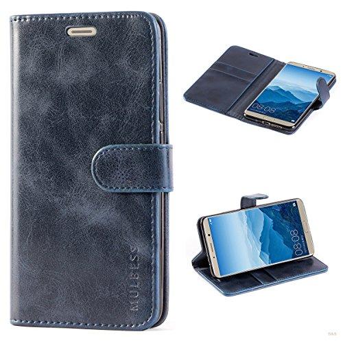 Handyhülle für Huawei Mate 10 Hülle, Leder Flip Case Schutzhülle für Huawei Mate 10 Tasche, Dunkel Blau