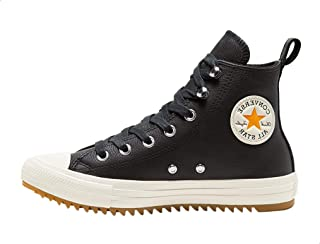 Converse Chuck Taylor All Star Leather Side-Logo High-Top Lace-Up Shoes For Women - Black and Vintage White, 36.5