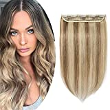 SEGO Extension A Clip Cheveux Naturel Monobande Rajout Cheveux Invisible Lisse 100% Clip In Hair Extension Remy Hair Une Pièce- 40 CM 12P613#Brun Doré & Blond Blanchi [ Volume Standard ]