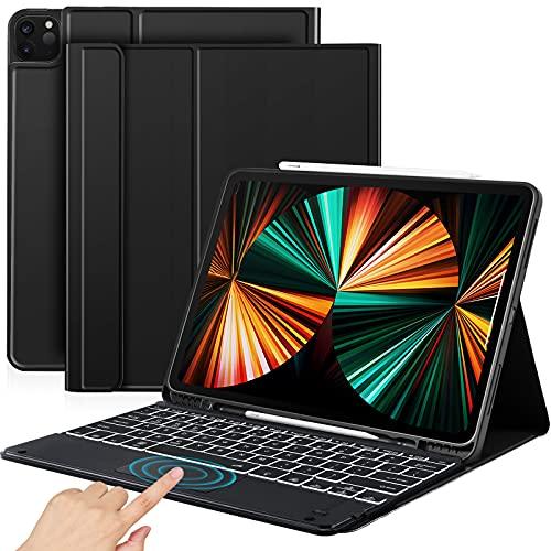 "Sross-TEC Tastatur Hülle Kompatibel mit 12,9"" iPad Pro 2021/2020/2018, QWERTZ Kabellose Beleuchtete Bluetooth iPad Pro 12.9 Zoll Tastatur Schützhülle mit Touchpad/Pencil Halter, Schwarz"