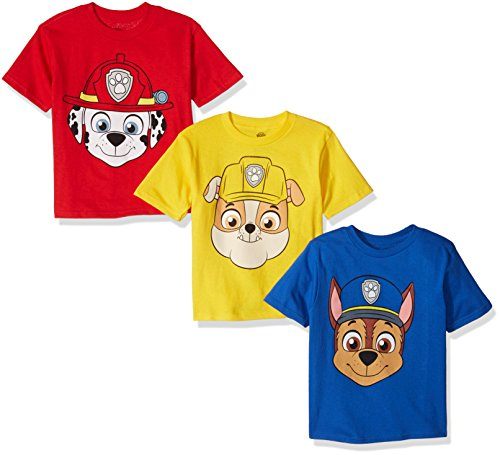 PAW Patrol Boys' Toddler Pack of Three T-Shirts, Royal/Red/Yellow, 4T
