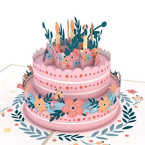 Lovepop Floral Birthday Cake Pop Up Card - Birthday Card, Cake Greeting Card, Birthday Pop Up Cards, 3D Cards, Pop Up Greeting Card, Birthday Pop Up Card, Greeting Card Birthday