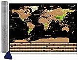 Tatuer Mappa del Mondo,59.5 * 42CM, Mappa del Mondo da Grattare Cartine Mondo da Grattare Mappa del Scratch per Viaggi/Fai da Te World Education Scrape Map - Scratch Paesi o Regioni Visitate