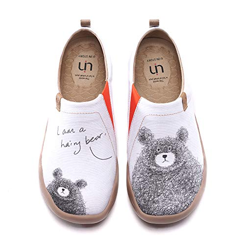 UIN Be with You Damen Bär Wanderschuhe Fashion Casual Walking Loafers Leicht Sneaker Reise Schuhe Canvas Weiß(40)