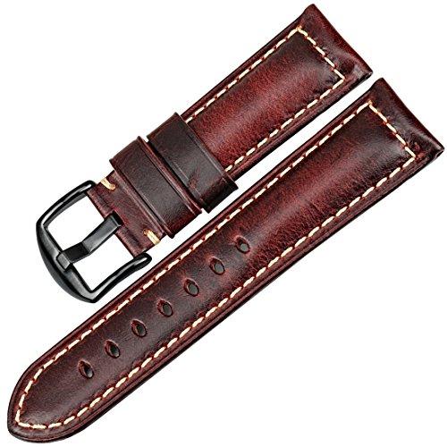 MAIKES Correa Reloj de Piel Replacement Reloj Banda 20 mm 22mm 24 mm 26mm Correa para Smartwatch para Hombre y Mujer (Band Width 20mm, Red+Black Clasp)