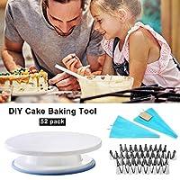 qwrew DIYケーキベーキングツール 52ピース ケーキデコレーション用品 ターンテーブルパイピングノズル 絞り袋セット