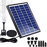 Upgrade 5.5W Solar Fountain Pump, FeelGlad Solar Water Pump with 6 Nozzles, Garden Fountain Solar Pond Pumps for Fish Ponds BirdBath, Garden Decoration, Water Cycling, No Electricity Required