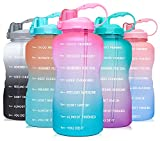 Venture Pal Large 1 Gallon/128 OZ (When Full) Motivational BPA Free Leakproof Water Bottle with Straw & Time Marker Perfect for Fitness Gym Camping Outdoor Sports-Light Pink/Green Gradient