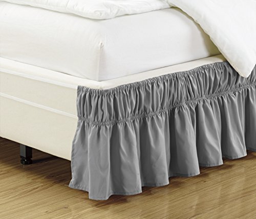 Mk Collection Wrap Around Style Easy Fit Elastic Bed Ruffles Bed-Skirt Queen-King Solid Grey New