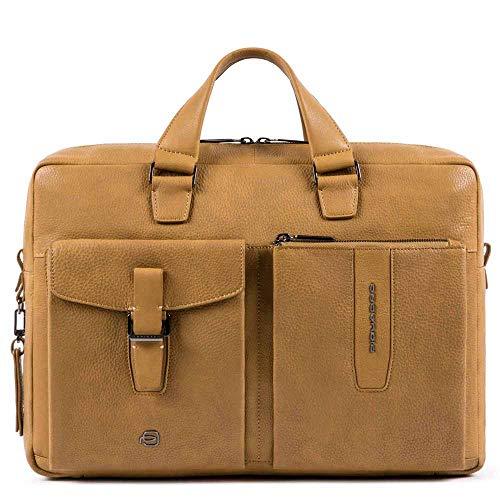 PIQUADRO Cartella ufficio portadocumenti gialla vera pelle porta PC 14' e iPad collezione Ares 40 x 29 x 8 cm CA5195W101/GIALLO due manici borsa uomo tracolla