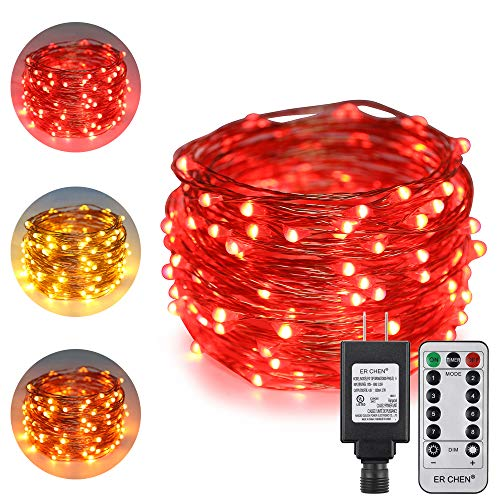 ErChen Dual-Color LED String Lights, 33 FT 100 LEDs Plug in Silvery Copper Wire 8 Modes Dimmable Fairy Lights with Remote Timer for Indoor Outdoor Christmas (Red/Warm White)