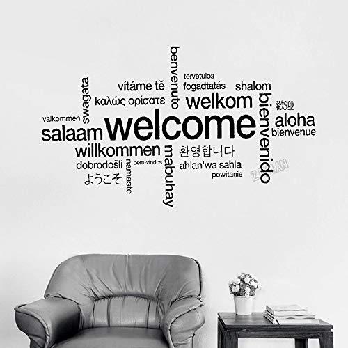 Jsnzff Cartel de Bienvenida Pegatinas de Pared multilingües para la Oficina calcomanías de Vinilo para Pared decoración del hogar Sala de Estar Tienda Art Deco Mural 66x114cm