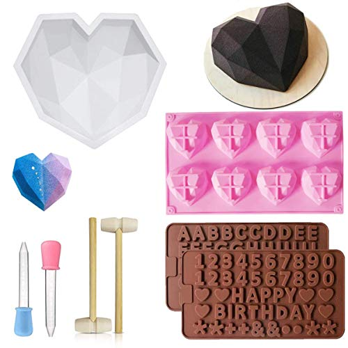 8 Pieces Diamond Heart Silicone Molds Set for Chocolate and Mousse Wedding Cake,Silicone Letter and Number Chocolate Mold with Wooden Hammers and Droppers for Home Kitchen DIY Tools Mother's Day Gift