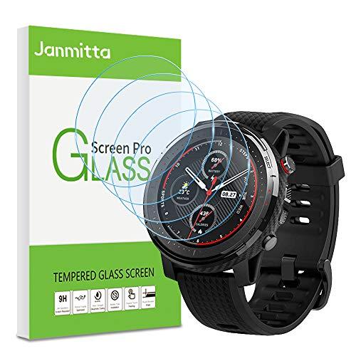 Janmitta para Amazfit Stratos 3 Protector de Pantalla [4 Piezas], 9H Dureza [Alta Definicion] [Fácil de Instalar] Cristal Vidrio Templado Film para Amazfit Stratos 3