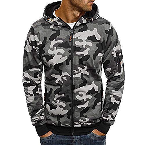 YEBIRAL Ziphood Herren Sweatjacke Kapuzenjacke Camouflage Hoodie Kapuzenpullover mit vollständigem Reißverschluss Geeignet für Sport, Freizeit, Zuhause in 7 Größen(5XL,Grau)