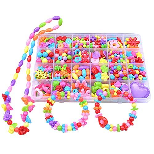 NBWS Perlas para enhebrar joyas infantiles, juego de cuerdas para pulseras, pulseras, collares, manualidades, manualidades, manualidades, juego de manualidades, regalo de cumpleaños para niñas