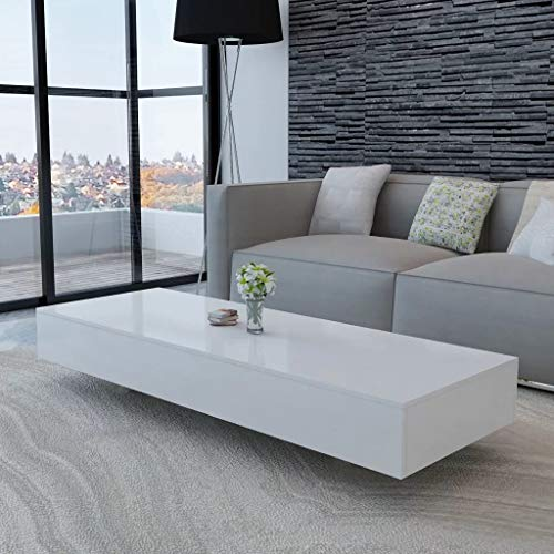 Ausla Rectangle Glass Coffee Table Modern Side Table Living Room Furniture with High Gloss Finish Modern Living Room Furniture, 115 x 55 x 31 cm MDF White