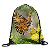 Etryrt Mochilas/Bolsas de Gimnasia,Bolsas de Cuerdas, Butterfly-Nature-Flowers Cool Gym Drawstring Bags Travel Backpack Tote School Rucksack