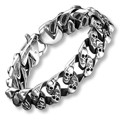 Urban Jewelry Herren-Armband, Edelstahl, mit Mini-Totenkopf, 22 cm, silberfarben