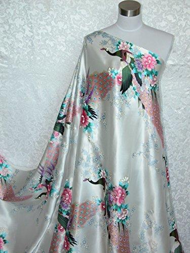 100% Pure Silk Charmeuse Fabric Ivory Peacock Per Yard