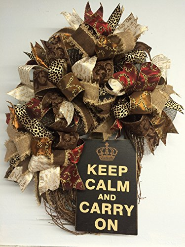 """29"""" Keep Calm Funky Bow Christmas or Everyday OVAL Wreath with Cheetah Ribbon, Christmas Ribbon & More!"""